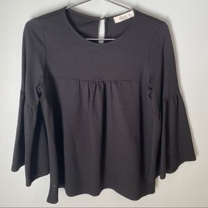 Glam American made black bell sleeve top small